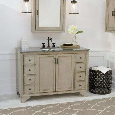 Hazelton 49 in. W x 22 in. D Bath Vanity in Antique Grey with Granite Vanity Top in Dark Grey