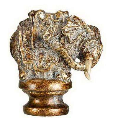 2.25 in. Brown Elephan Resin Lamp Finial