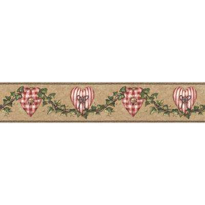 4.1 in. x 15 ft. Brown and Red Heart Accent Border