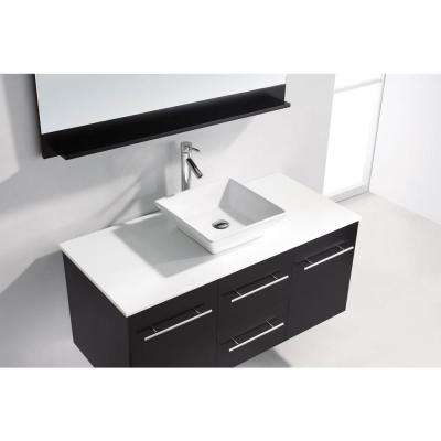 Marsala 49 in. W Bath Vanity in Espresso with Stone Vanity Top in White with Square Basin and Mirror and Faucet