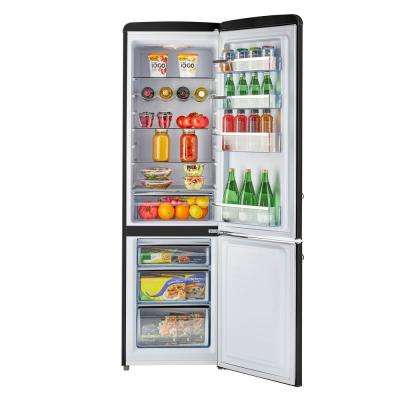 Retro 21.6 in. 9 cu. ft. Bottom Freezer Refrigerator in Midnight Black, ENERGY STAR