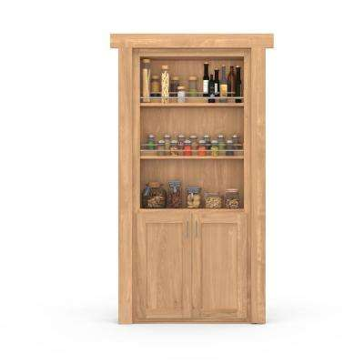 36 in. x 80 in. Flush Mount Assembled Forward Pantry Door Hickory Unfinished Left-Hand Inswing