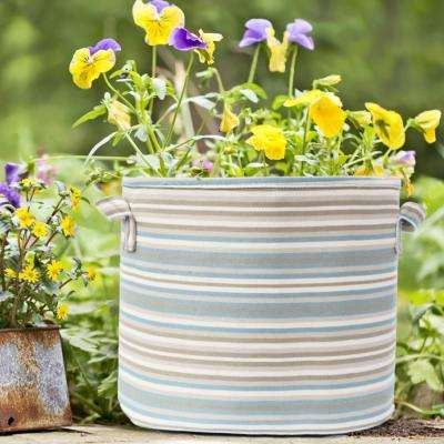 12 in. Dia Grey Multi-Color Fabric Planter with Liner (2-Pack)