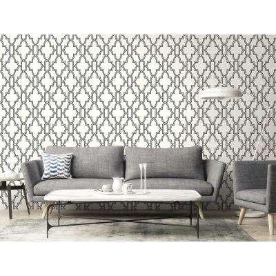 Black and White Tile Trellis Peel and Stick Wallpaper