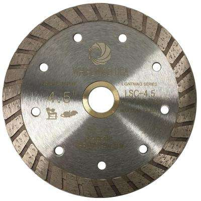 4.5 in. Turbo Rim Diamond Blade for Dry or Wet Cutting Concrete, Stone, Brick and Masonry