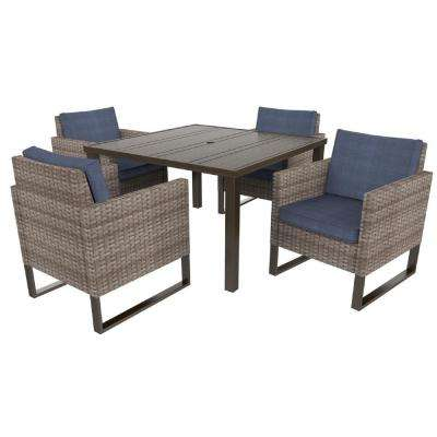 Park Heights 5-Piece Wicker Square Outdoor Dining Set with Navy Cushions