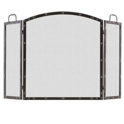 Wazee Oil Rubbed Silver 3-Panel Fireplace Screen with Doors