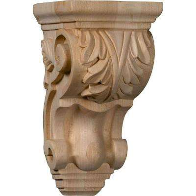 4 in. x 3-1/2 in. x 7 in. Unfinished Wood Maple Small Traditional Acanthus Corbel