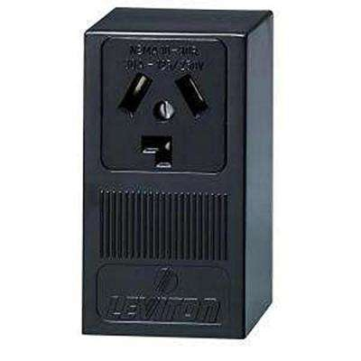 30 Amp Surface Mount Power Single Outlet, Black