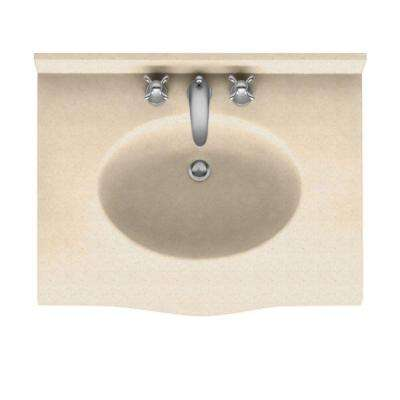Europa 25 in. Solid Surface Vanity Top with Basin in Tahiti Sand