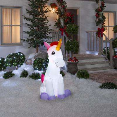4.50 ft. Pre-Lit  Airblown Inflatable Christmas Unicorn