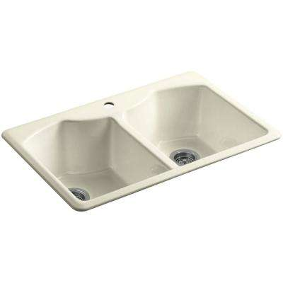 Bellegrove Drop-In Cast-Iron 33 in. 1-Hole Double Basin Kitchen Sink with Accessories in Cane Sugar