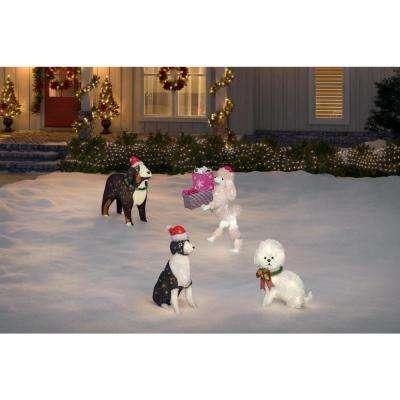 30 in. Pre-Lit Tinsel Dog with Santa Hat