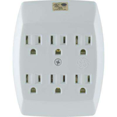6-Outlet Grounded In-Wall Adapter - White