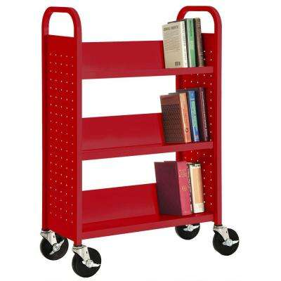 32 in. W x 14 in. D x 46 in. H Single Sided 3-Sloped Shelf Booktruck in Fire Engine Red