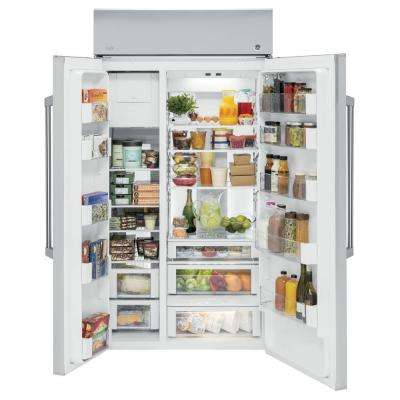 48 in. W 29.6 cu. ft. Built-In Side by Side Refrigerator in Stainless Steel