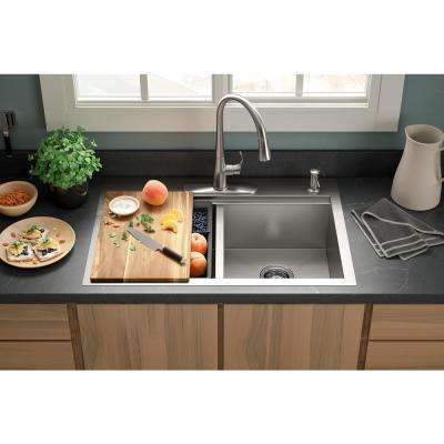 Lyric Workstation 33 in. Dual Mount Stainless Steel Double Bowl Kitchen Sink with Simplice Kitchen Faucet