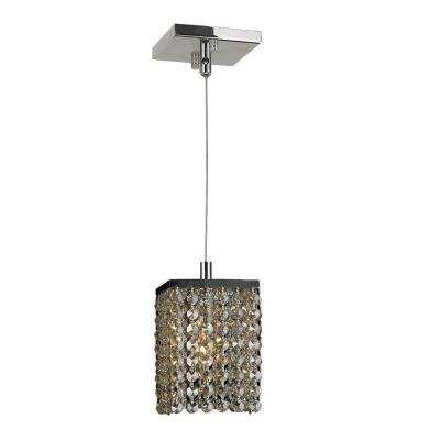 Prism 1-Light Chrome Mini-Pendant with Golden Teak Crystal