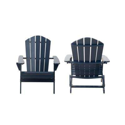 Classic Midnight Navy Blue Folding Wooden Adirondack Chair (2-Pack)