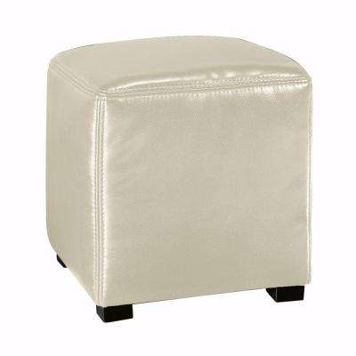 Tracie Basic Leather Ottoman in Cream