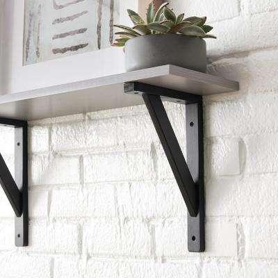 11.5 in. x 7.5 in. Black Wooden Decorative Shelf Bracket