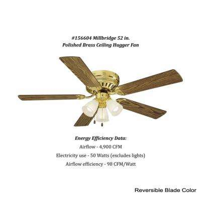 Millbridge 52 in. Polished Brass Hugger Ceiling Fan
