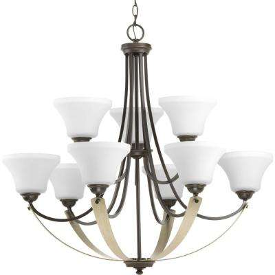 Noma Collection 9-light Antique Bronze Chandelier with Etched Glass Shade
