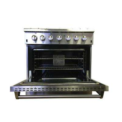 36 in. 5.2 cu. ft. Oven Dual Fuel Range in Stainless Steel