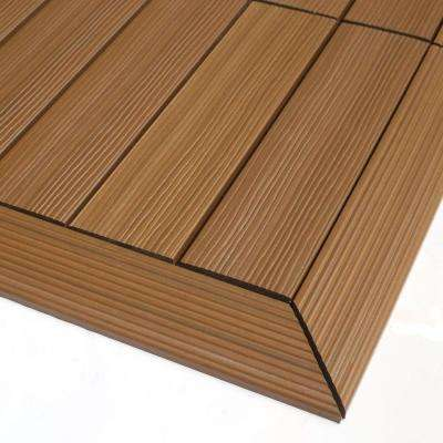 1/6 ft. x 1 ft. Quick Deck Composite Deck Tile Outside Corner Trim in Peruvian Teak (2-Pieces/box)