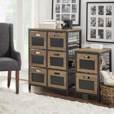 Mulvey Industrial Open 6-Drawer Metal Cabinet in Black