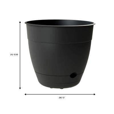 Dayton 12 in. x 10.95 in. Black Plastic Planter