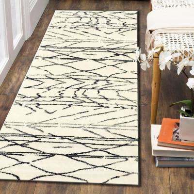 Matrix Abstract Moroccan White / Black Rectangle 2 ft. 1 in. x 7 ft. 5 in. Indoor Runner Rug