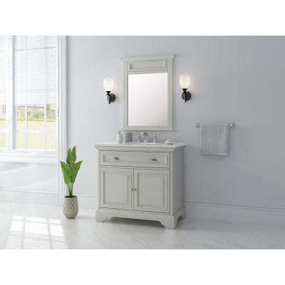 Sadie 38 in. W x 21.5 in. D Vanity in Antique Light Cyan with Marble Vanity Top in Natural White with White Sinks