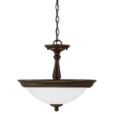 Northbrook 2-Light Roman Bronze Semi-Flush Mount Convertible Pendant with Satin Etched Glass