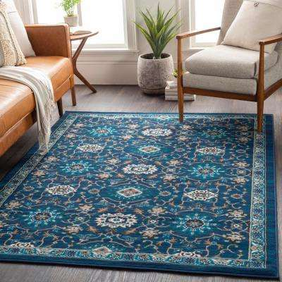 Elias Navy 5 ft. 3 in. x 7 ft. 3 in. Medallion Area Rug