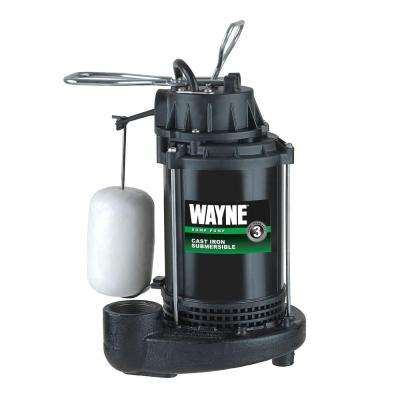 1/3 HP Cast Iron Submersible Sump Pump with Vertical Float Switch