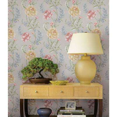 Summer Palace Grey Floral Trail Wallpaper Sample