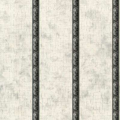 56 sq. ft. Black And White Architectural Leaf Scroll Wallpaper