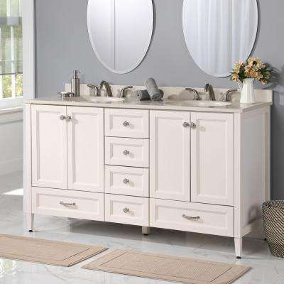 Claxby 60 in. W x 22 in. D x 34 in. H Bathroom Vanity Cabinet in Cream