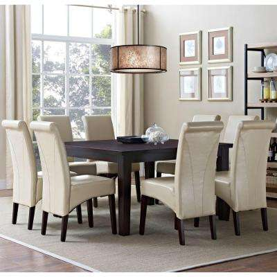 Avalon Solid Wood and Faux Leather 9-Piece Dining Set in Satin Cream