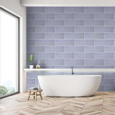 Midnight Fibers Blue 6 in. x 18 in. Glossy Ceramic Wall Tile (12.75 sq. ft. / case)
