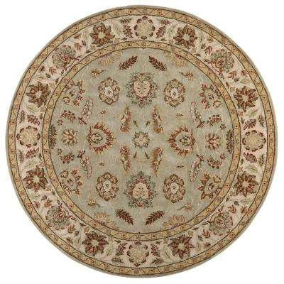 Old London Green/Ivory 8 ft. x 8 ft. Round Area Rug