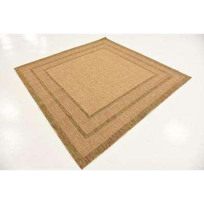 Outdoor Multi Border Light Brown 6' 0 x 6' 0 Square Rug