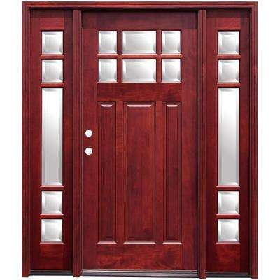70 in. x 80 in. Craftsman 6 Lite Stained Mahogany Wood Prehung Front Door with 14 in. Sidelites