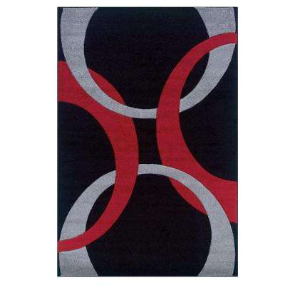 Corfu Collection Black and Red 5 ft. x 7 ft. 7 in. Indoor Area Rug