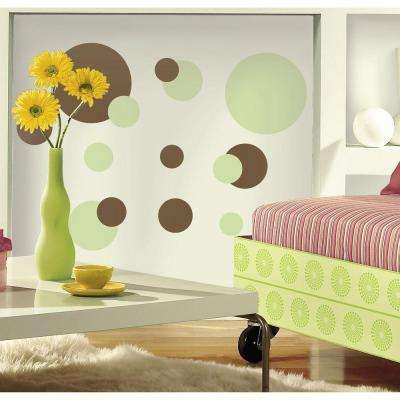 5 in. x 11.5 in. Just Dots Green/Brown Peel and Stick Wall Decal