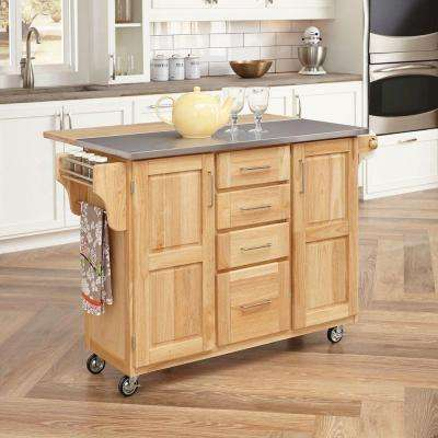 Natural Wood Kitchen Cart with Stainless Top and Breakfast Bar