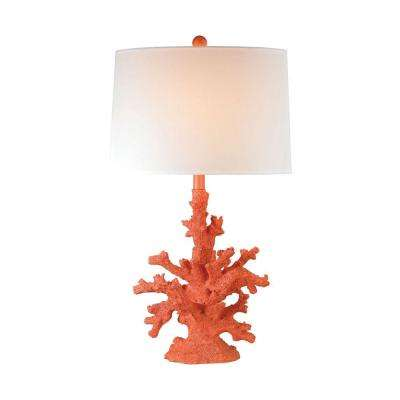 28 in. Peach Coral Table Lamp