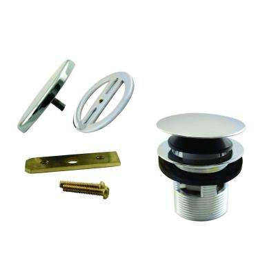 1-1/2 in. NPSM Integrated Overflow Round Tip-Toe Bath Drain with Illusionary Overflow Cover, Polished Nickel