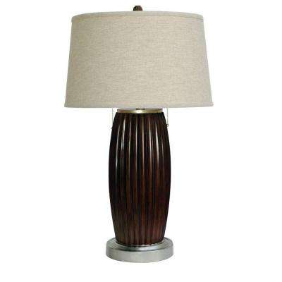 31 in. Chestnut and Silver Table Lamp with Double Pull-DISCONTINUED
